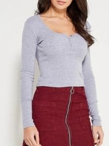 Topshop gray long sleeve crop top